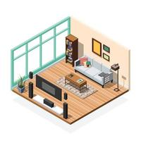 composizione interna isometrica con stanze mobili vettore
