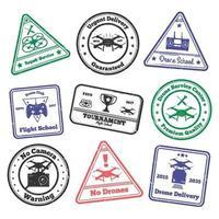 francobolli grunge di drone vettore
