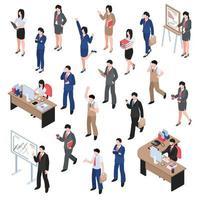 set di caratteri isometrici uomini d'affari donne vettore