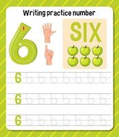 foglio di lavoro di scrittura pratica numero 6 vettore