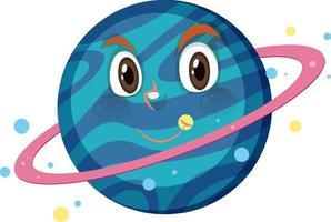 personaggio dei cartoni animati di Saturno con espressione faccia felice su sfondo bianco vettore