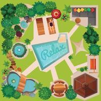 illustrazione di vista superiore del diagramma del giardino di progettazione del paesaggio vettore