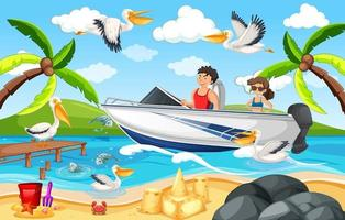 scena della spiaggia con una coppia su una barca vettore