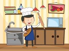 chef nella scena della cucina con attrezzature vettore