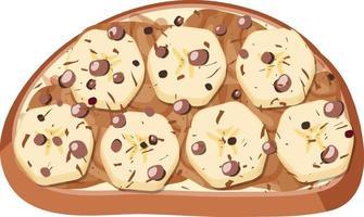 vista dall'alto di pane con guarnizione di frutta vettore