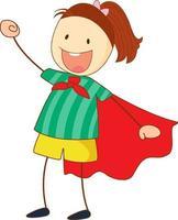 personaggio dei cartoni animati di ragazza super eroe in stile doodle disegnato a mano isolato vettore