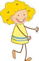 personaggio dei cartoni animati ragazza carina in stile doodle disegnato a mano isolato