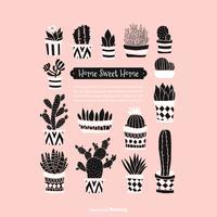Fondo di vettore di succulents e cactus in vaso di Doodle