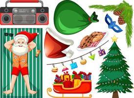 insieme di oggetti isolati del tema estivo di Natale vettore