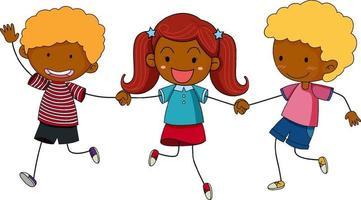 tre bambini che si tengono per mano personaggio dei cartoni animati disegnato a mano in stile doodle isolato