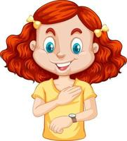 personaggio dei cartoni animati ragazza guardando orologio da polso vettore