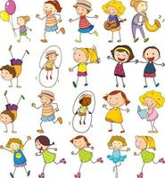 set di diversi doodle bambini personaggio dei cartoni animati