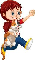 personaggio dei cartoni animati di ragazza felice che abbraccia un gatto carino vettore