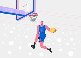 Illustrazione piana di vettore del giocatore di pallacanestro di Dunk di colpo