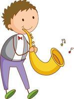 un bambino di doodle che gioca il personaggio dei cartoni animati del sassofono isolato