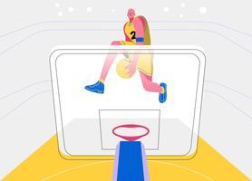 Illustrazione piana di vettore di vista frontale del giocatore di pallacanestro di Dunk di colpo