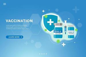 fondo del vaccino per l'illustrazione di vettore di concetto di progetto del modello della pagina di destinazione della vaccinazione