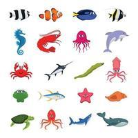 raccolta di animali marini illustrazione vettoriale colorato isolato su sfondo bianco