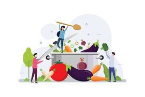 verdure biologiche che cucinano per uno stile di vita sano vettore