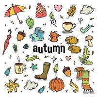 autunno doodle disegnato a mano oggetto illustrazione vettoriale
