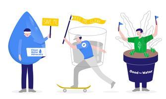 Illustrazione di vettore del carattere della mascotte dell'attivista di advocacy dell'acqua pulita