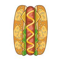 icona di fast food delizioso hot dog vettore