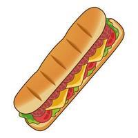 delizioso panino fast food icona vettore