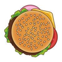 delizioso hamburger fast food icona vettore