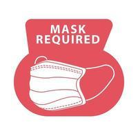 maschera obbligatoria etichetta rossa vettore