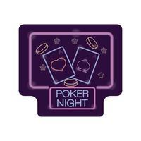 etichetta di luce al neon del casinò di notte di poker vettore