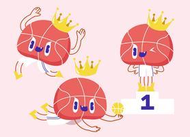 Illustrazione divertente di vettore del carattere della mascotte di pallacanestro
