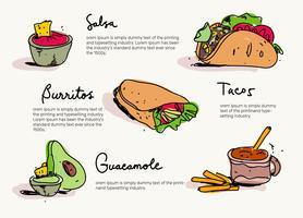 Illustrazione disegnata a mano di vettore del menu messicano dell'alimento