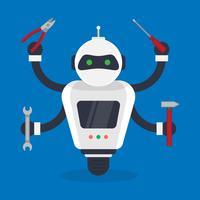 Umanoide futuristica e piccola illustrazione dei robot del meccanico