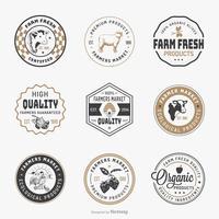 Insieme di vettore del modello di Logo del mercato degli agricoltori