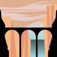 silhouette ponte di fronte a sfondo di montagne vettore