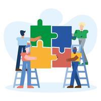 concetto di lavoro di squadra con uomini che tengono i puzzle vettore