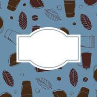 sfondo di tazze e foglie di caffè con spazio per il disegno vettoriale di testo