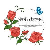 Cornice di rose floreali con farfalla blu vettore