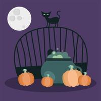 gatto di Halloween sul cancello con la ciotola della strega e il disegno di vettore delle zucche