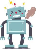 un simpatico robot è in piedi alto. è rotto e fumante. errore 404 per sito internet. illustrazione vettoriale di un personaggio.