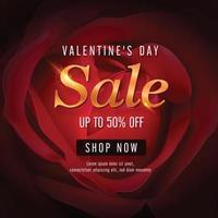 buon san valentino, modello per lo sconto di vendita con una bella rosa rossa su sfondo rosso. vettore e illustrazione.