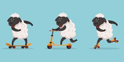 pecore sportive divertenti. vettore