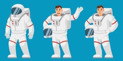 astronauta in diverse pose. vettore