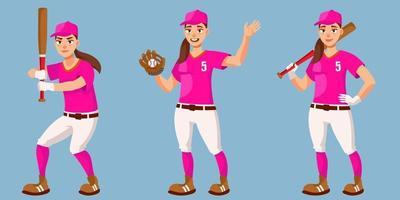 giocatore di baseball in diverse pose. vettore