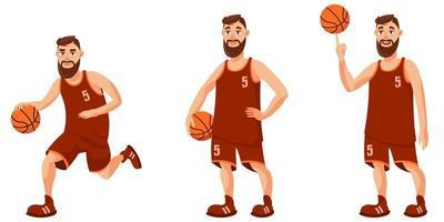 giocatore di basket in diverse pose. vettore