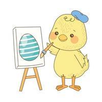 simpatico pulcino che dipinge uovo personaggio pasquale vettore