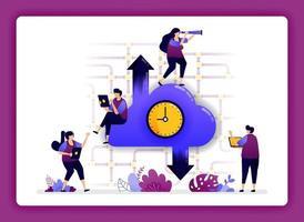 illustrazione del data center cloud. velocità di accesso a Internet su cloud. pianificazione dei tempi di caricamento e scaricamento per gli utenti. il design può essere utilizzato per sito Web, web, pagina di destinazione, banner, app mobili, interfaccia utente, poster vettore