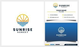 tramonto, alba con il concetto di logo in stile arte linea e modello di biglietto da visita vettore