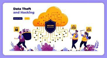 sistemi di protezione della sicurezza cloud dal furto e dall'uso improprio dei dati degli utenti digitali. illustrazione vettoriale per pagina di destinazione, banner, sito Web, web, poster, app mobili, ui ux, homepage, social media, flyer, brochure