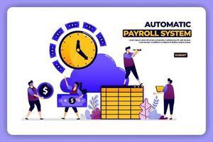 progettazione di pagine mobili del sistema di buste paga automatico. sistema di contabilità dello stipendio bancario. progettato per landing page, banner, sito web, web, poster, app mobili, homepage, social media, flyer, brochure, ui ux vettore